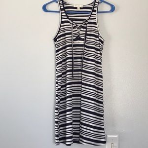 Tilly's Navy Blue and White Stripped Dress